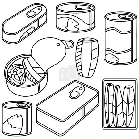Illustration for Vector set of canned fish - Royalty Free Image