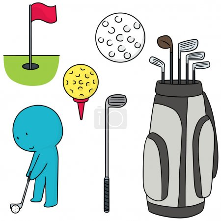 vector set of golfer and golf equipment