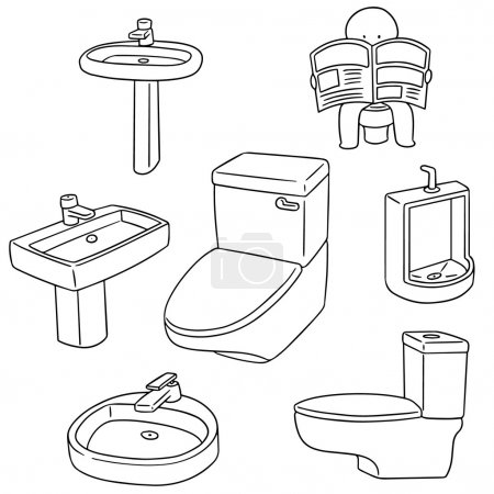 vector set of sanitary ware