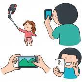 Vektorové sada smartphone závislost