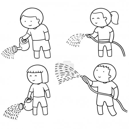 vector set of watering by watering can and watering tube