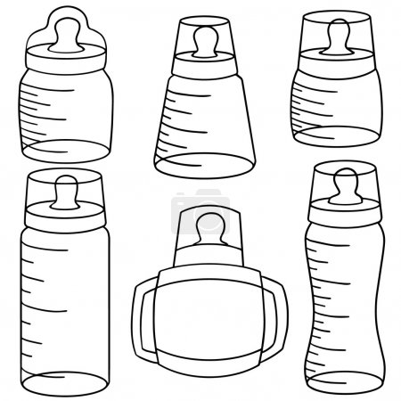 Vector set of baby bottle