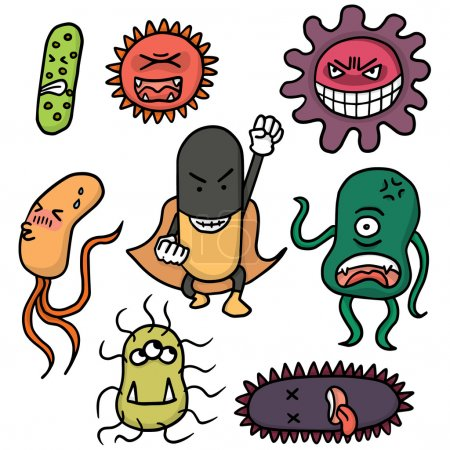 vector set of bacteria and antibiotics