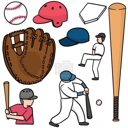 vector set of baseball equipment
