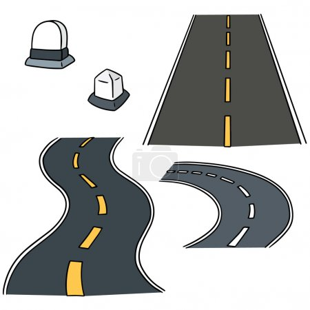 vector set of road and milestone