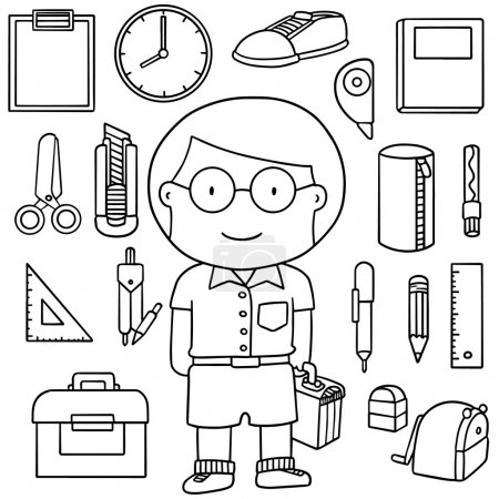 vector set of student and stationaries