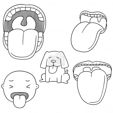 Illustration for Vector set of mouth and tongue - Royalty Free Image
