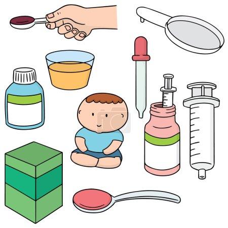 Illustration pour Ensemble vectoriel de médecine liquide - image libre de droit