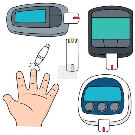 Illustration for Vector set of blood sugar monitor - Royalty Free Image