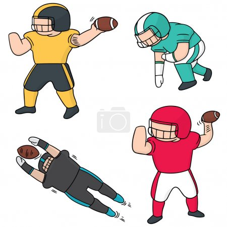 Vector set of american football player