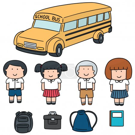 vector set of student and school bus
