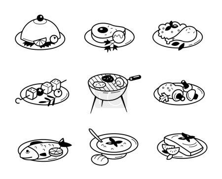 Illustration pour Définir des icônes de ligne vectorielle dans les restaurants et cafés plats design alimentaire avec des éléments pour les concepts mobiles et web. Collection moderne logo infographique et pictogramme . - image libre de droit