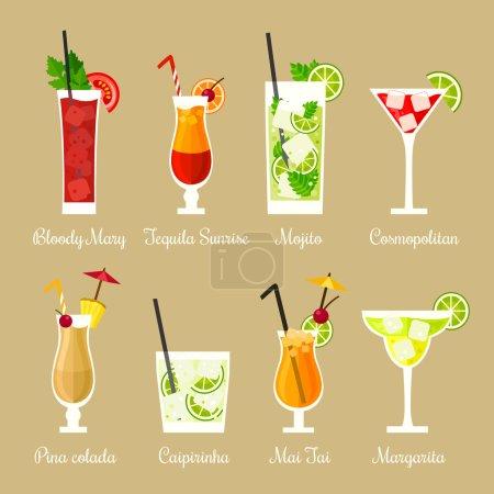 Illustration for Vector illustration of eight popular alcoholic cocktails: Bloody Mary, Tequila Sunrise, Mojito, Cosmopolitan, Pina Colada, Caipirinha, Mai Tai, Margarita in flat style - Royalty Free Image