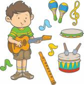 Cartoon young boy playing guitar surrounded with musical instrument