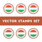 I Love Hungary vector stamps set