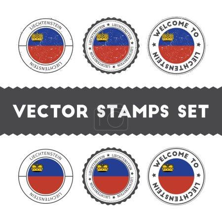 Liechtensteiner flag rubber stamps set.