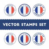 French flag rubber stamps set