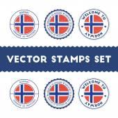 Norwegian flag rubber stamps set