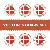 Danish flag rubber stamps set