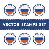 I Love Russian Federation vector stamps set