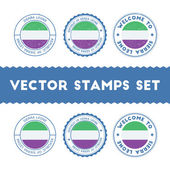 Sierra Leonean flag rubber stamps set