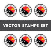 I Love Papua New Guinea vector stamps set