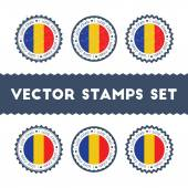 I Love Chad vector stamps set