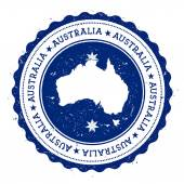 Australia map and flag in vintage rubber stamp of state colours