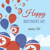 Independence Day Flat Greeting Card Korea Democratic People's Republic Of Independence Day North Korean Flag Balloons Patriotic Poster Happy National Day Vector Illustration