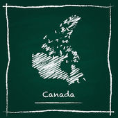 Canada outline vector map hand drawn with chalk on a green blackboard