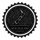 New Zealand Map Label with Retro Vintage Styled Design Hipster Grungy New Zealand Map Insignia Vector Illustration Country round sticker