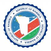 Namibia map and flag in vintage rubber stamp of state colours