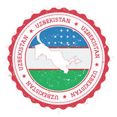 Uzbekistan map and flag in vintage rubber stamp of state colours