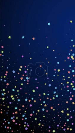 Illustration for Festive sightly confetti. Celebration stars. Colorful stars random on dark blue background. Gorgeous festive overlay template. Vertical vector background. - Royalty Free Image
