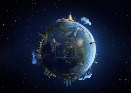 Travel our Earth planet. The world monument concept.