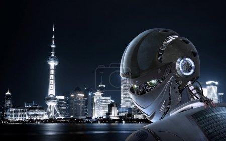 Photo for Stylish futuristic robot on Shanghai city Background - Royalty Free Image