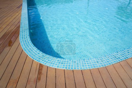 Swimming pool with fake wood flooring