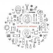 Beauty set line icons art Vector cosmetic spa Beautiful woman