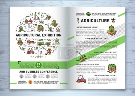Agricultural Exhibition business brochure design template, flyer or card