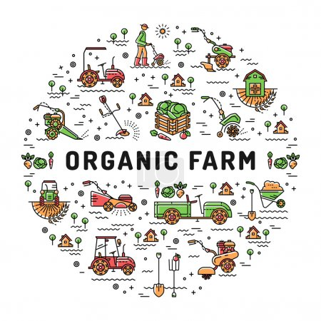 Illustration for Vector agriculture and organic farm fresh line art icons, Farming design template, Garden tiller and farm machines. Vector illustration agriculture and gardening circle colorful infographics concept - Royalty Free Image