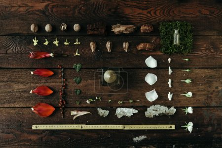 Natural ingredients on old wooden desk