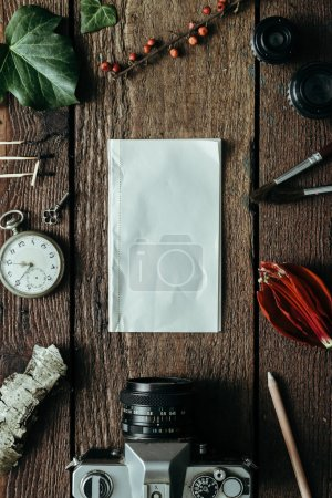 Photo for Creative arrangement of things with paper note. Flat lay - Royalty Free Image