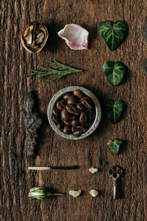 Photo for Creative arrangement of natural things with coffee. Flat lay - Royalty Free Image