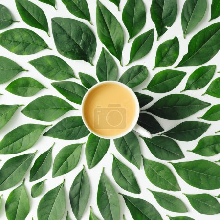 cup on green leaves background