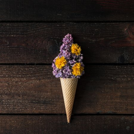 Ice cream cone with purple lilac