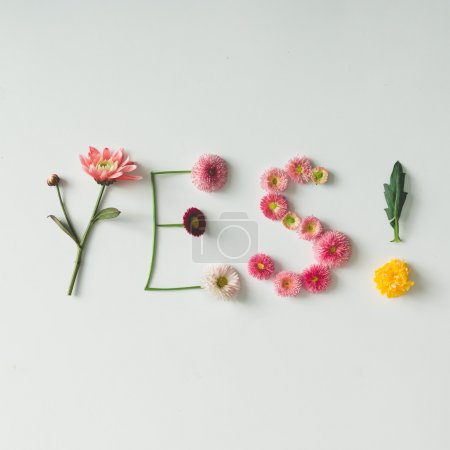 "Photo for Word ""YES"" made of flowers on bright background. Spring concept. Flat lay - Royalty Free Image"