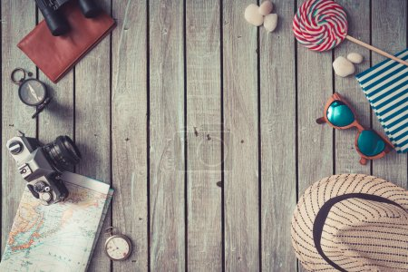 Photo for Summer things on wooden background. Summer concept.Flat lay. - Royalty Free Image