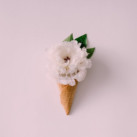 Photo for Icecream cone with white flower and leaves. Summer concept. Flat lay. - Royalty Free Image
