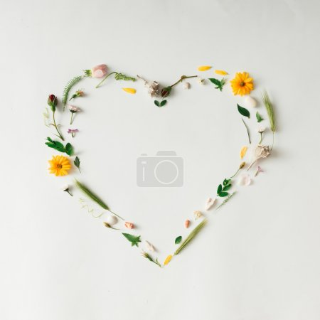 Photo for Heart symbol made of various natural things. Love concept. Flat lay. - Royalty Free Image