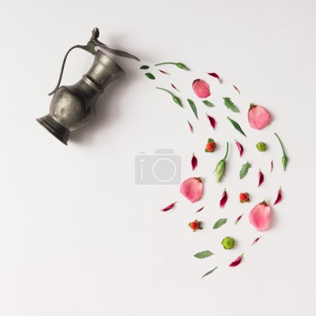 Photo for Tea cup with various natural herbs. Flat lay, Minimal concept. - Royalty Free Image